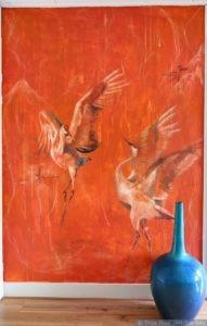 Muurschildering Japanse Kraanvogels 2